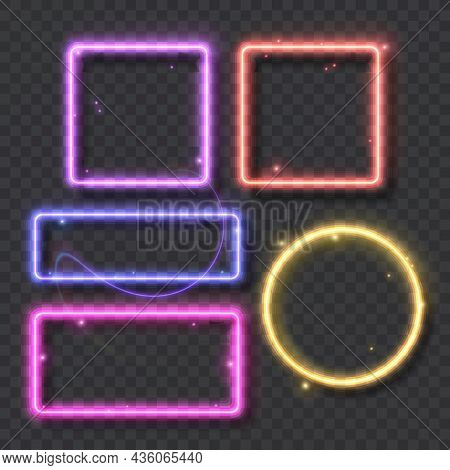 Set Of Neon Frames And Luminous Lines For Decoration Signboard