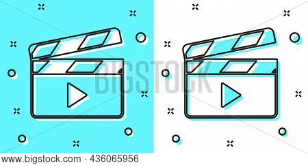 Black Line Movie Clapper Icon Isolated On Green And White Background. Film Clapper Board. Clapperboa