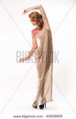 Creative Concept. Unrealistic Woman In Light White Dress. Glamour