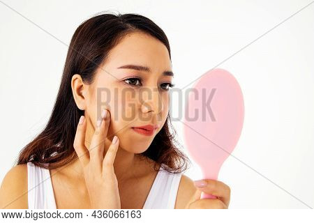 Concept Asian Girls Have Acne : Portrait Long-haired Girl Anxious On Facial Beauty Looked In The Mir
