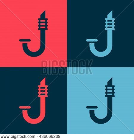 Pop Art Snorkel Icon Isolated On Color Background. Diving Underwater Equipment. Vector