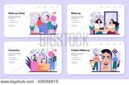 Make Up Artist Web Banner Or Landing Page Set. Professional Artist