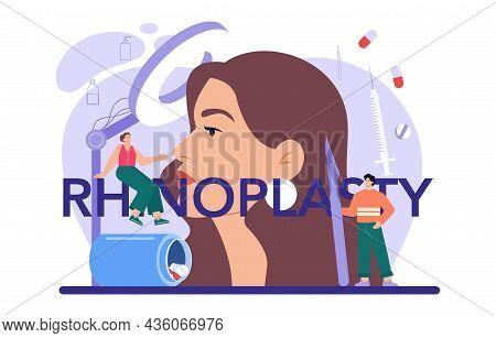 Rhinoplasty Typographic Header. Plastic Surgery, Idea Of Modern Face