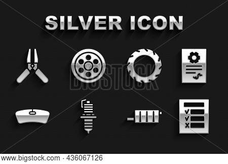 Set Car Spark Plug, Auto Service Check Automotive, Inspection, Muffler, Windshield, Tire Wheel, Batt