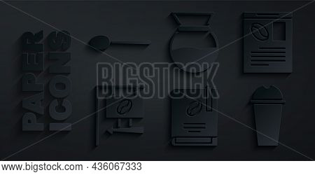 Set Coffee Book, Newspaper And Coffee, Street Signboard, Milkshake, Pour Over Maker And Spoon Icon.
