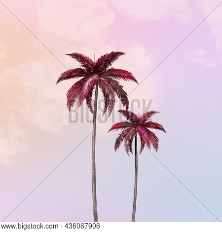 Pastel palm tree background for social media post