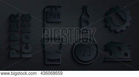 Set Alcohol 21 Plus, Bottle Cap, Glass Of Vodka, Cheese, Beer Bottle And Street Signboard With Pub I