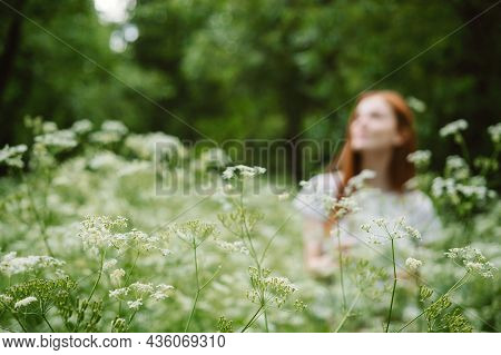 Young Woman Smiling Arms Raised Up, Enjoy Nature, Celebrating Freedom On Green. Positive Emotions. D