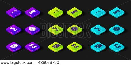 Set Playing Cards, Online Play Video, Gamepad, Vinyl Disk, Business Strategy And Kitchen Whisk Icon.