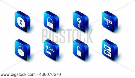 Set Lock, Key, Password Protection, Casting Keys, Marked, And Keyhole Icon. Vector
