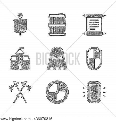 Set Executioner Mask, Round Wooden Shield, Diamond, Shield, Crossed Medieval Axes, Castle, Fortress,