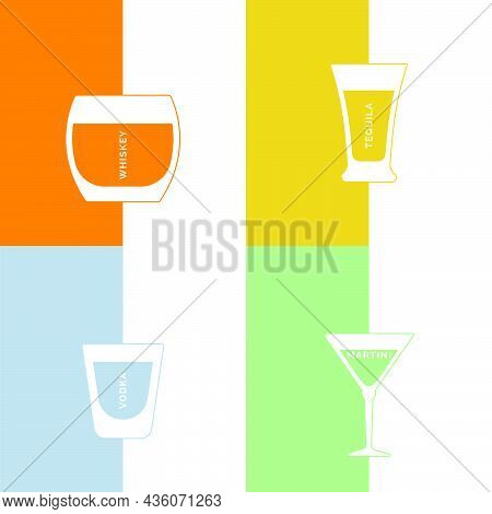 Whiskey, Tequila, Vodka And Martini Glass In Minimalist Linear Style With Text. Contour Of Glassware