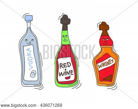 Vodka, Red Wine, And Whiskey With Smile On White Background. Cartoon Sketch Graphic Design. Doodle S