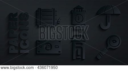 Set London Phone Booth, Umbrella, Pound Sterling Money, Magnifying Glass, Big Ben Tower And Wooden B