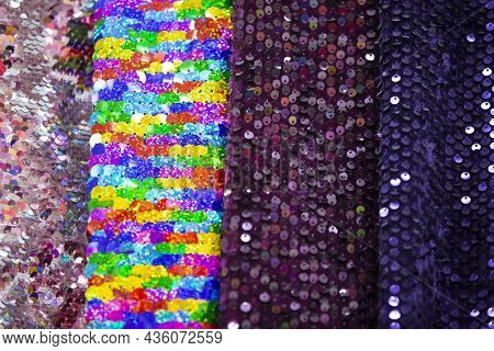 Multi-colored Canvases Of Fabric With Rhinestones Of The Same Texture. Textile Production.