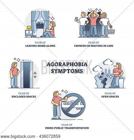 Agoraphobia Symptoms, Mental Disorder Examples, Outline Concept Collection Set. Fear Of Leaving Home