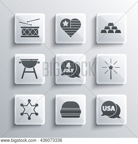 Set Burger, Usa Label, Firework, Independence Day, Hexagram Sheriff, Barbecue Grill, Drum And Drum S