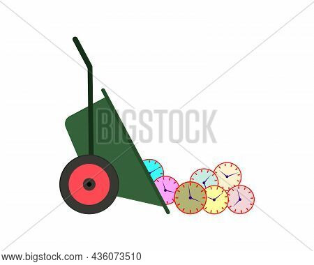 Wasted Time Concept. Many Round Mechanical Clocks Are Thrown From The Garden Wheelbarrow. Vector Ill