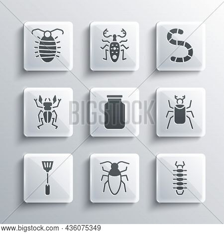 Set Cockroach, Centipede, Beetle Bug, Glass Jar, Fly Swatter, Deer, Larva Insect And Worm Icon. Vect