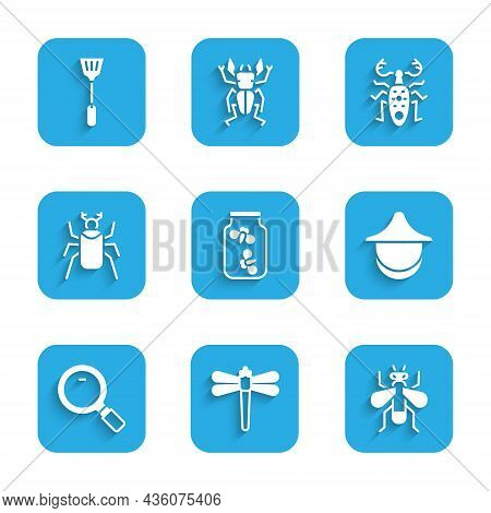 Set Fireflies Bugs In A Jar, Dragonfly, Insect, Beekeeper Hat, Magnifying Glass, Beetle, Deer And Fl