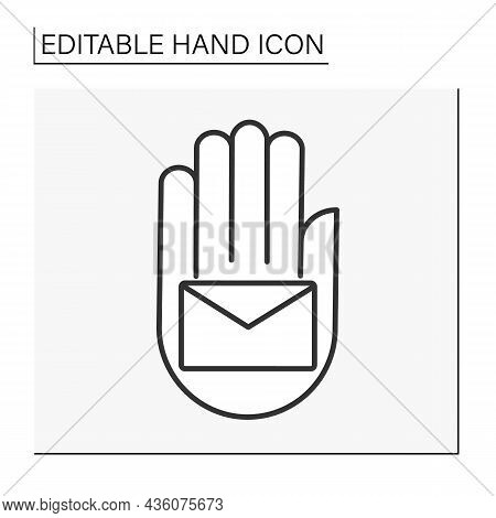 Hand With Mail Line Icon. Unread Message. Letter.hand Concept. Isolated Vector Illustration. Editabl