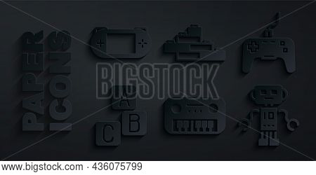 Set Toy Piano, Gamepad, Abc Blocks, Robot Toy, Building Bricks And Portable Video Game Console Icon.