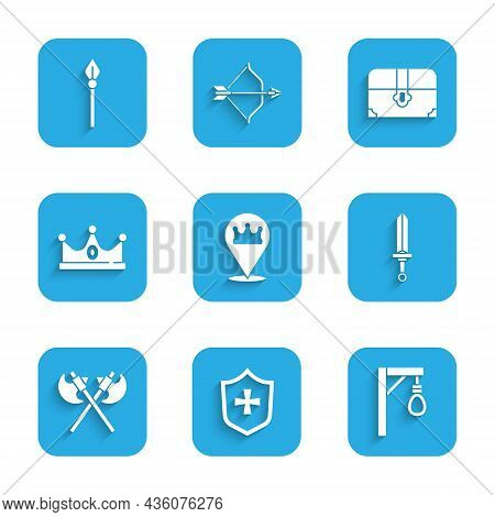 Set Location King Crown, Shield, Gallows, Medieval Sword, Crossed Medieval Axes, King, Antique Treas