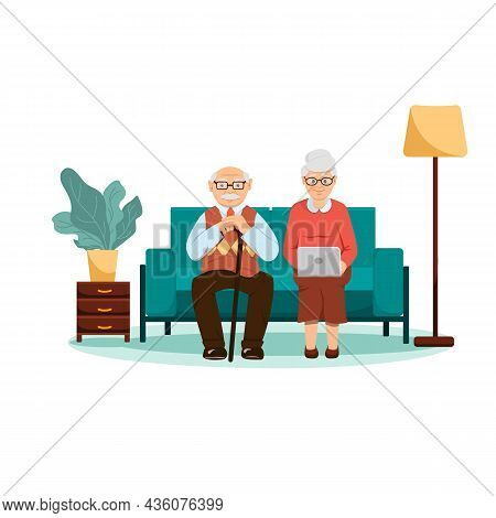 Grandparents Sitting On The Sofa With Laptop. There Is A Lamp Nearby. Indoor Flower. Flat Style. Old