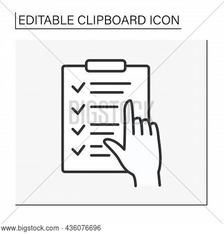 Checking Line Icon. Check Information With Finger. Marks. Exam Concept. Isolated Vector Illustration