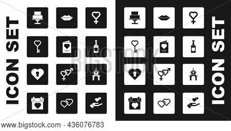 Set Female Gender Symbol, Greeting Card, Key Heart Shape, Wedding Cake, Champagne Bottle, Smiling Li