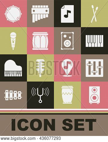 Set Stereo Speaker, Sound Mixer Controller, Grand Piano, Music Book With Note, Drum, Microphone, Dia