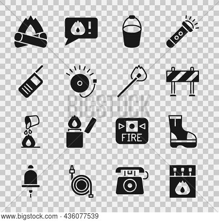 Set Matchbox And Matches, Fire Boots, Road Barrier, Bucket, Ringing Alarm Bell, Walkie Talkie, Campf