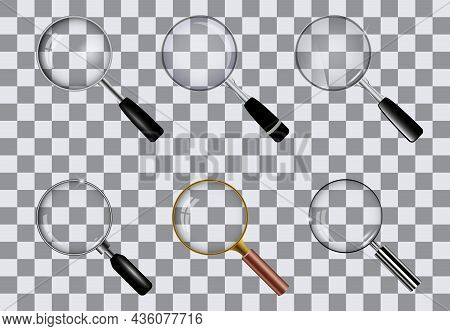 Realistic Magnifying Glass Set Isolated On Gray Checkered Background, Golden, Silver And Simple Magn