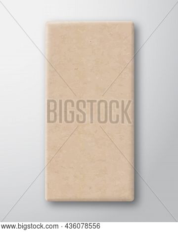 Craft Cardboard Chockolate Bar Box Container Template. Realistic Carton Texture Paper Packaging Mock