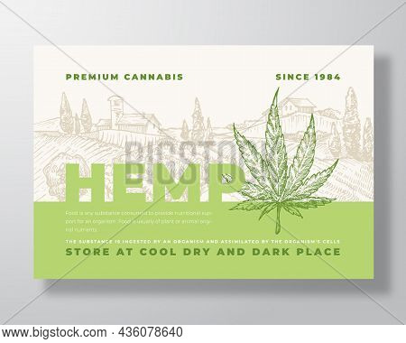Premium Cannabis Label Template. Abstract Vector Packaging Design Layout. Modern Typography Banner W