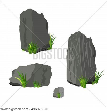 Vector Rock Stone And Grass Set Cartoon. Stones And Rocks In Isometric 3d Flat Style. Set Of Differe