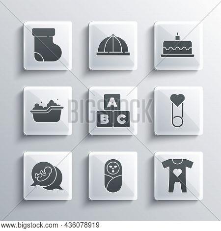 Set Newborn Baby Infant Swaddled, Baby Clothes, Pin, Abc Blocks, Bathtub, Socks And Cake With Burnin