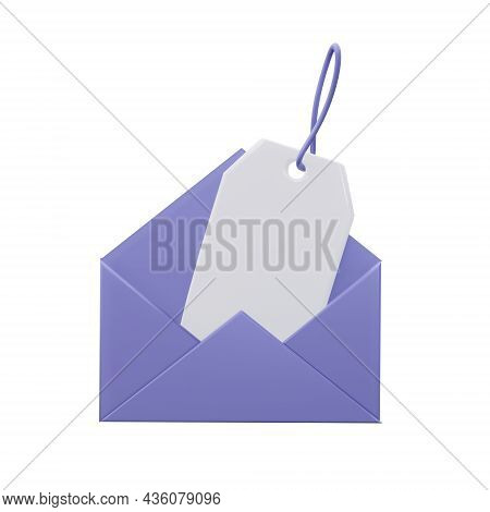 Envelope With Price Tag, 3d Rendering Illustration.