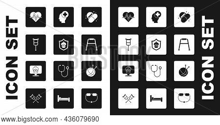 Set Medicine Pill Or Tablet, Grandmother, Crutch Crutches, Heart Rate, Walker, Male Head With Hospit