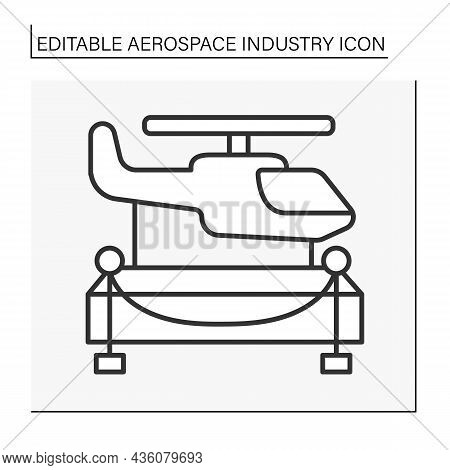 Helicopter Line Icon. Helicopters Are Exhibited In Museum. Aerospace Industry Concept. Isolated Vect