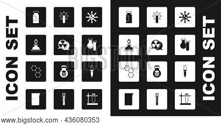 Set Bacteria, Radioactive, Alcohol Or Spirit Burner, Test Tube And Flask, Chemical Explosion, Pipett