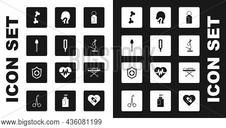 Set Eye Drop Bottle, Medical Thermometer, Sperm, Human Broken Bone, Microscope, Sore Throat, Stretch