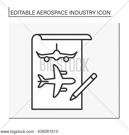 Development Line Icon. Research, Development, And Manufacture Of Flight Vehicles. Aeroplanes Project
