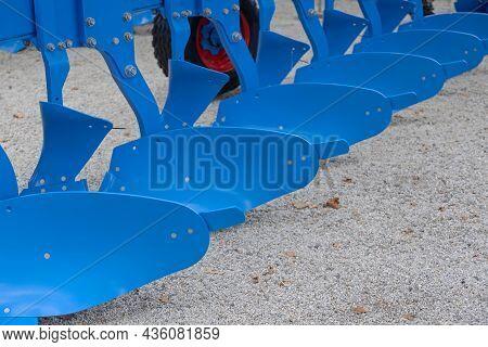 Big Blue Plough At Agriculture Machine Attachment