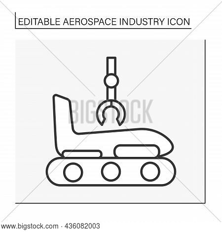 Airplane Details Line Icon. Designing Of Plane Body Construction. Development And Manufacturing. Aer