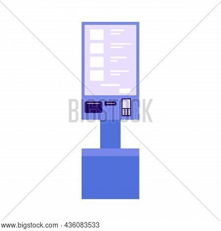 Self Service Checkout Shop. Paying For Products At Electronic Device. Self-service On Terminal With