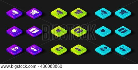 Set Fast Street Food Cart, Glasses, Sun, Flip Flops, Bodybuilder Muscle And Diving Mask Icon. Vector