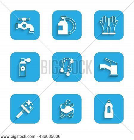 Set Sponge, Bar Of Soap, Dishwashing Liquid Bottle, Water Tap, Rubber Cleaner For Windows, Air Fresh