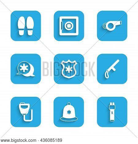 Set Police Badge, British Police Helmet, Electric Shocker, Rubber Baton, Walkie Talkie, Hexagram She