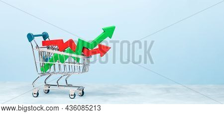 Shopping Basket And Arrows Graph Growth Green And Red Dip. Template Copy Space For Text